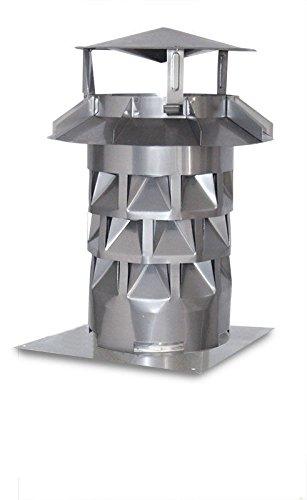 Schornsteinhaube V2A DN 150 mit Grundplatte + Silikon