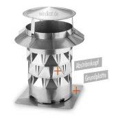 Windkat Schornsteinaufsatz mit Grundplatte Edelstahl V4A